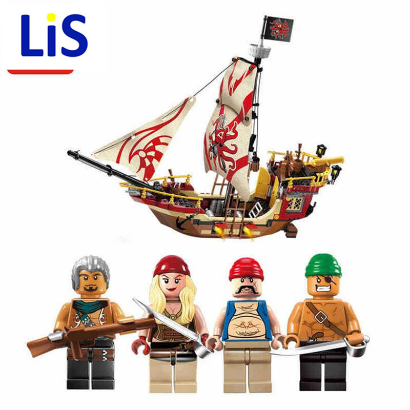 Lis New 368 Pcs Pirates Series Caribbean Ship Marauder Building Blocks DIY Sets For Kids Gifts Toy Compatible With Lepin P783 lepin 22001 1717pcs pirate ship imperial warships model building blocks toy compatible with legoe pirates caribbean 10210