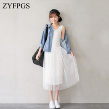 ZYFPGS 2019 New Style Fairy Long Dress Women Fashion Casual Sleeveless Vintage Party Vestidos Ladies Pleated Hem Z1026