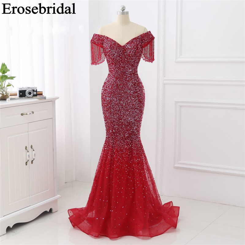 Red/Champange Mermaid Evening Dress 2019 Long Evening Gown Long Party Dress With Train Luxury Beaded Robe Soiree