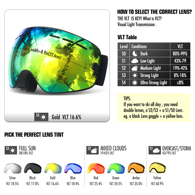 ski goggles double layers UV400 anti-fog big men women snowboard goggles 8