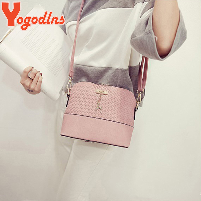 Yogodlns New female bag quality pu leather soft face women bag wild shoulder messenger bag Quilted shell bag pendant cute deer