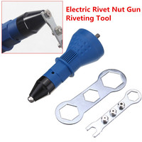 16x5.7x5.7cm Cordless Riveting Drill Adaptor Insert Nut Tool Riveting Drill Adapter Electric Rivet Nut Gun Riveting Tool Blue