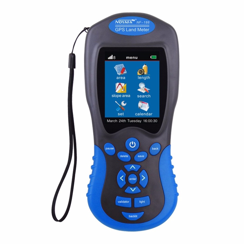 Noyafa NF-188 GPS Land Meter LCD Screen Display GPS Test Devices Land Measuring Instrument Portable Outdoor Measure Area Tool gps survey equipment use for farm land surveying and mapping area measurement display measuring value figure track noyafa nf 198