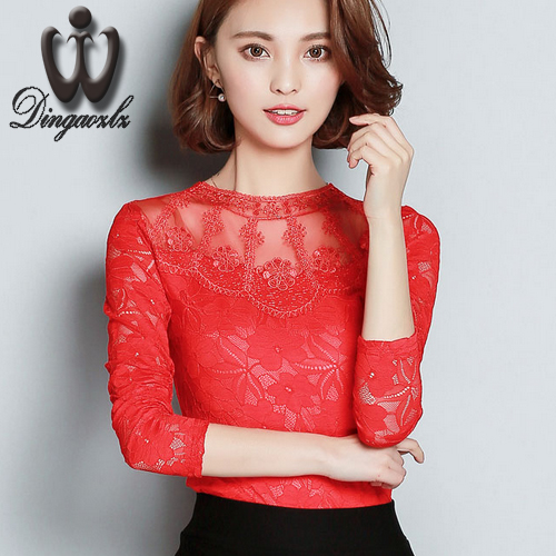 women clothes Korean long-sleeve hollow out bottoming lace blouse shirt elegant female mesh stitching embroidery lace tops M-3XL