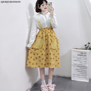 Kawaii Sunflower Print Lolita Suspender Skirt Women Japanese Style Front Double Pockets Summer Midi Skirt High Waist Overalls sweet style solid color button embellished women s suspender skirt