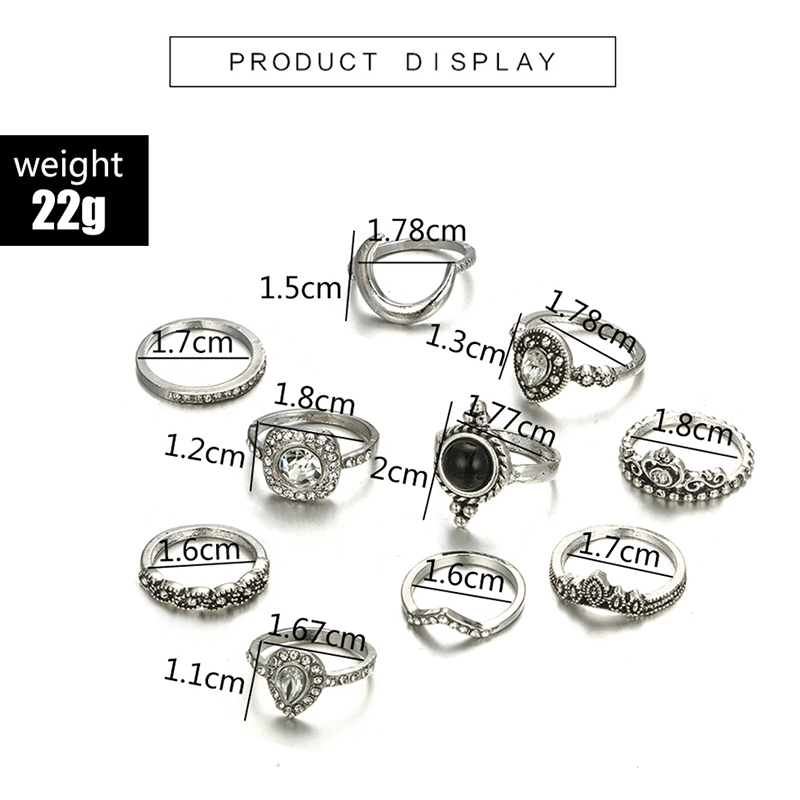 HuaTang Bohemian Antique Silver Ring Geometric Elephant Flower Green Rhinestone Knuckle Rings Midi Finger Anel Rings Jewelry 86