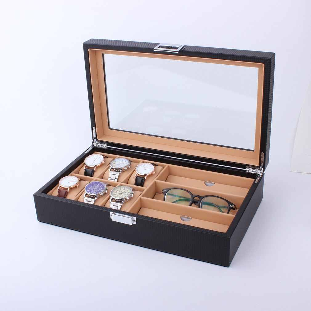 6/8 Grids PU Leather/Carbon Fiber Watch Box Case Sunglasses Organizer Jewelry Collection Storage Display Container Holder