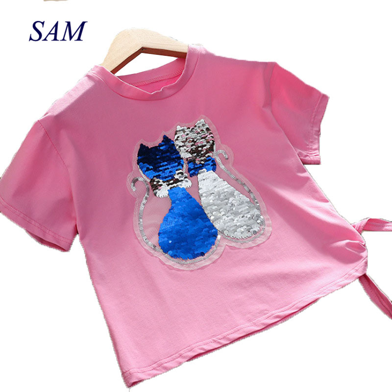 Girls T-Shirt Color-Changing-Clothes Tops Kids Flip Sequin Fashion Short-Sleeve Cotton