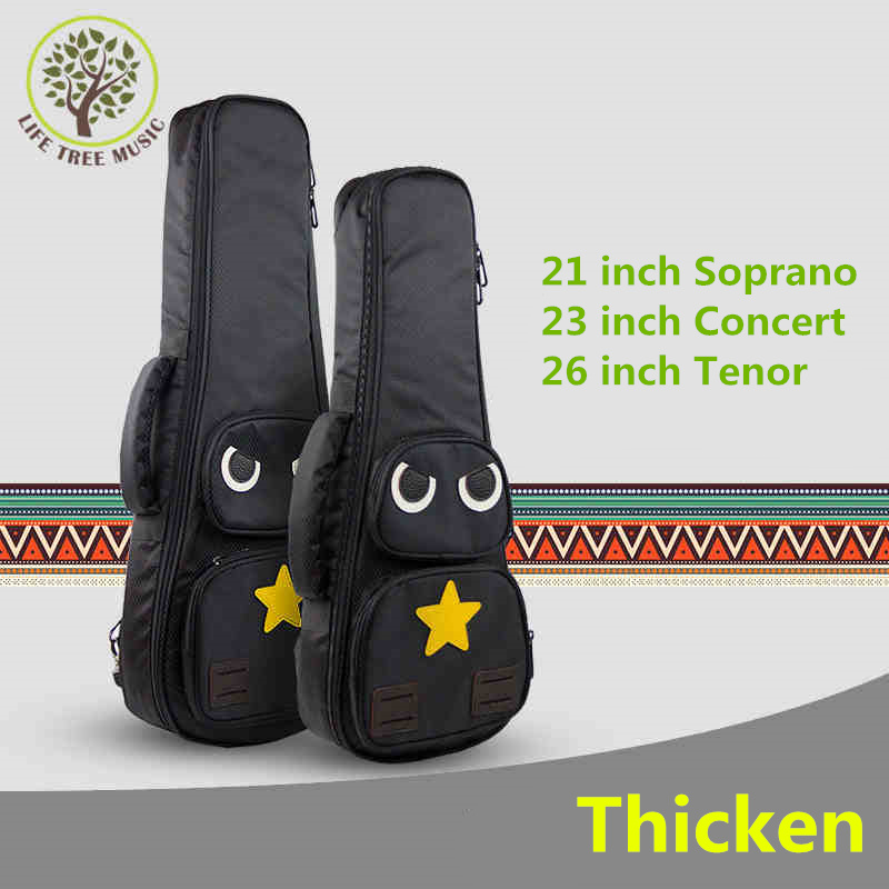Thicken Cartoon Soprano Concert Tenor Ukulele Bag Case Backpack 21 23 26 Inch Ukelele Beige Mini Guitar Accessories Parts Gig 12mm waterproof soprano concert ukulele bag case backpack 23 24 26 inch ukelele beige mini guitar accessories gig pu leather