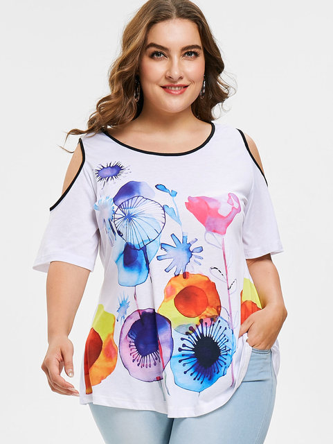 d4d6e1af930f2 Wipalo Plus Size 5XL Jellyfish Print Cold Shoulder T-Shirt Women Summer  Causal O Neck