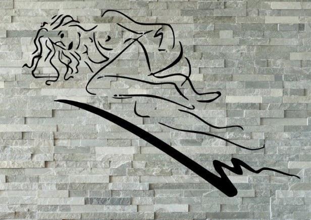 Hot selling sexy girl vinyl muurtattoo mooie vrouw naked slapen
