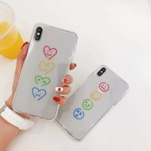 INS Korea super fire color smiley love heart phone case For iphone Xs MAX XR X 6 6s 7 8 plus funny pattern clear oft TPU Cover