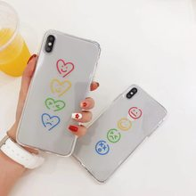 INS Korea super fire color smiley love heart phone case For iphone Xs MAX XR X 6 6s 7 8 plus funny pattern clear oft TPU Cover(China)