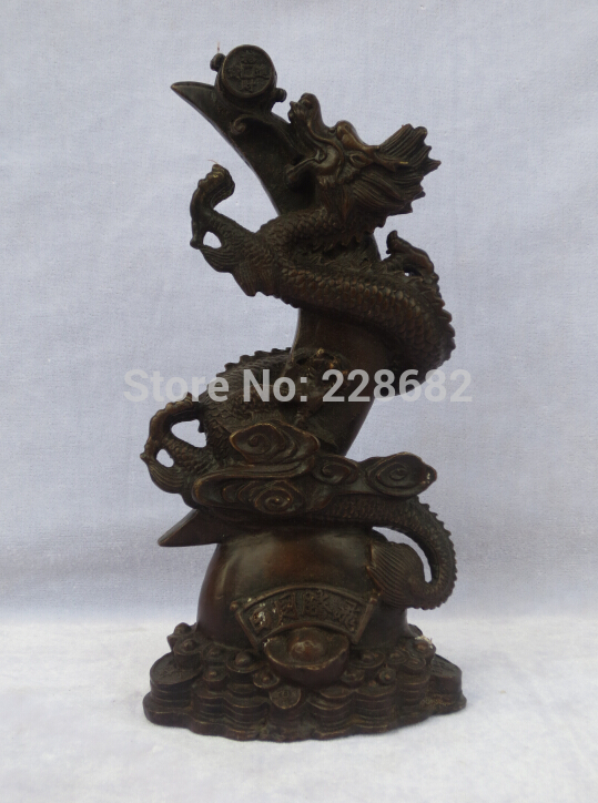 Chinese Old Copper/bronze Carved Knife Dragon Sculpture/ Dragon Statue