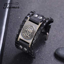 Teamer – Bracelet amulette en cuir noir et large, arbre de vie Wicca, couleur argent/bronze/cuivre, breloque pentagramme magique, bijoux