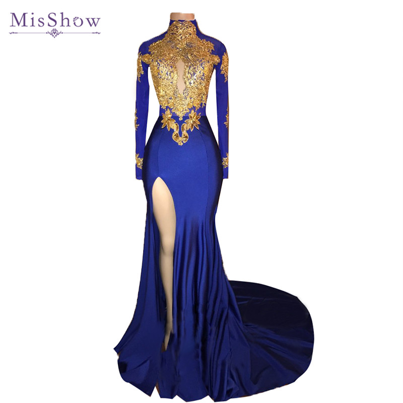 Sexy African Long Sleeve   Prom     Dresses   2019 High Neck Sheer Back Gold Lace Appliques Slit Mermaid Royal Blue   Prom     Dress   Party