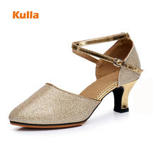 9d9ace762697e Gold Silver Black Glitter Woman Dance Shoes Heels 3 5cm Closed Toe Ladies