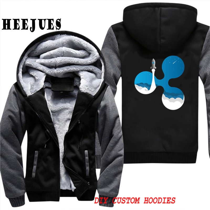 Mens Casual Outerwears Winter Warm Thickening Velvet Ripple Rocket XRP Crypto Currency Hooded Coat Male Warm Hoodies Tracksuits