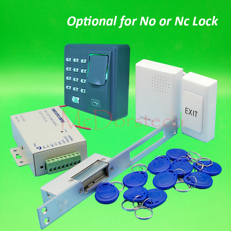 DIY Full Long type Electric Strike Lock Door System Kit Fingerprint Access Control System + Power Supply + Door Bell