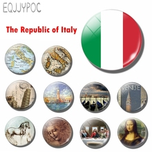 Republic of Italy Flag 30 MM Fridge Magnet Glass Dome Magnetic Refrigerator Stickers Note Holder Home Decoration