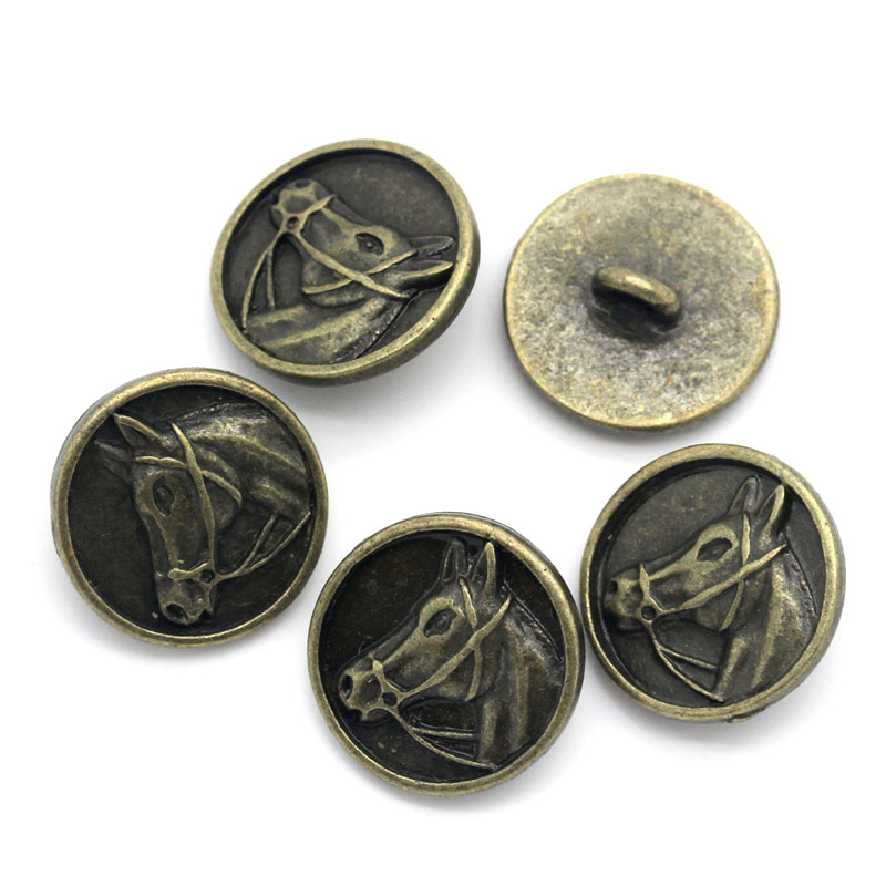 20Pcs Bronze Tone Horse Head Carved Round Metal Sewing Buttons Craft Jewelry 15mm( 5/8) Dia.