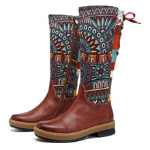 Johnature Vintage 2020 New Genuine Leather Knee High Boots for Women Winter Autumn Ladies Shoes Woman Flower Booties