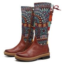Johnature Vintage 2020 nowe oryginalne skórzane buty do kolan dla kobiet zimowe jesienne buty damskie kobieta kwiat botki