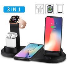 Suporte com carregador sem fio, doca para carregamento wireless, para apple watch series 5 4 3 2 iphone 11 pro max xs max airpods xr 8 x iwatch