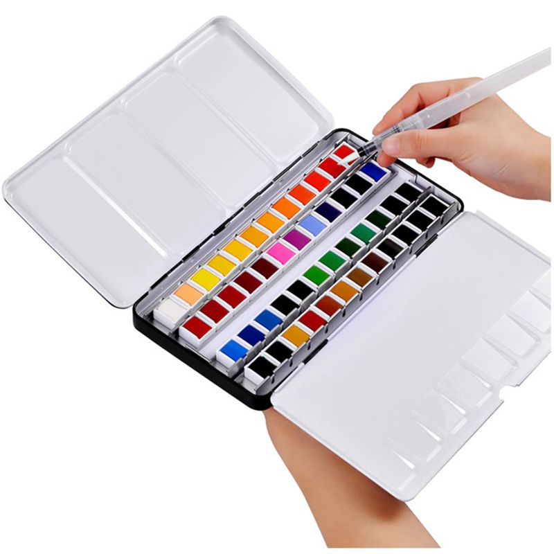 Professional 12/24/36/48 Colors Solid Watercolor Paints Set With Paintbrush Water color Pigment Set Acuarelas Verf Art Supplies sticker