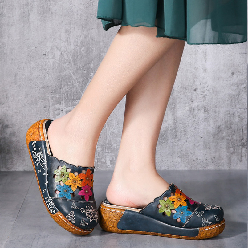 e7a39122cd05 Z Women Slippers Summer Sandals Flip Flop Beach Slippers Ethnic Floral  Thick Heel Platform Sandals Women Casual Shoes Zapatillas-in Slippers from  Shoes on ...