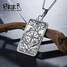 Beier 316L Stainless Steel Tarot pendant necklace The Wheel of Fortune pendant jewelry  BP8-219 beier stainless steel biker jason voorhees hockey halloween mask pendant necklace with red colour antique cool jewelry bp8 362