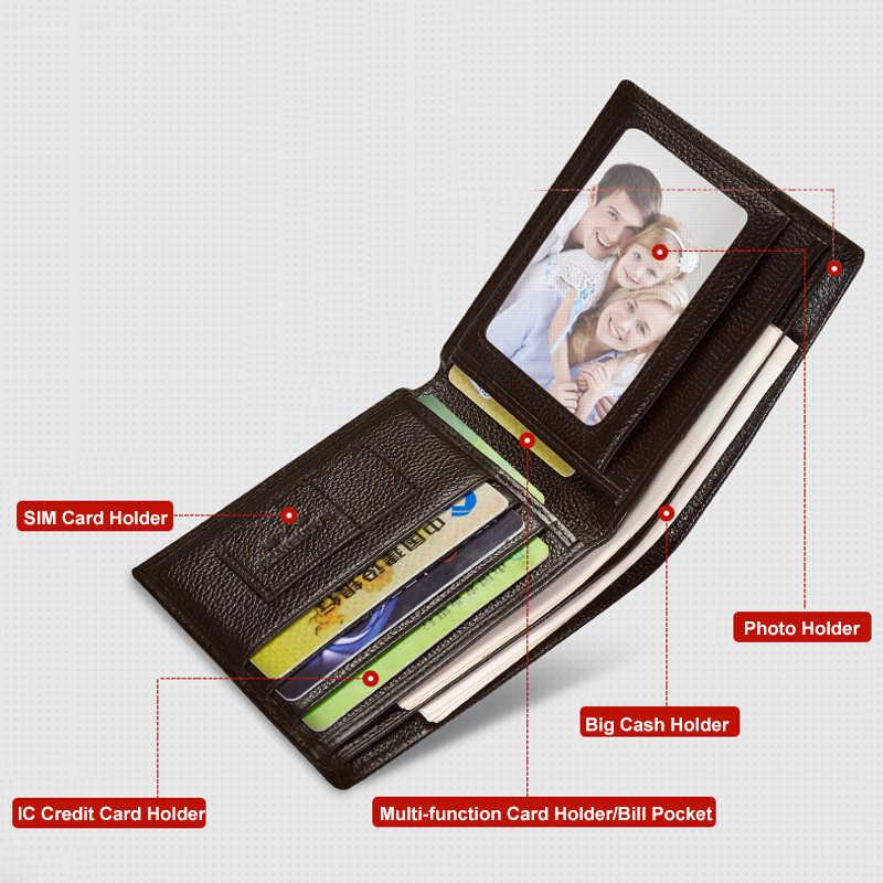 Мужской бумажник LAORENTOU, черный повседневный короткий кошелек из натуральной кожи, с отделениями для карт, в винтажном стиле, 2019