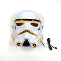 Free Shipping EL Wire Yellow Mask With Sound Activated Driver LED Neon Light Prom Plastic Mask