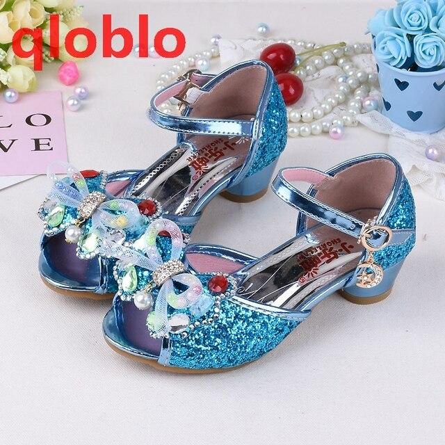 qloblo 2018 summer baby sandals kids dress shoes toddler high heels Bowtie  beauty gold girls sandals Blue Pink for childre 8efda768e7b8