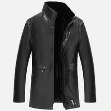 Men's Leather Jackets Winter Thickening Warm Business Casual Leather Jacket Men Plus Size XXXL Black/Brown Two Color