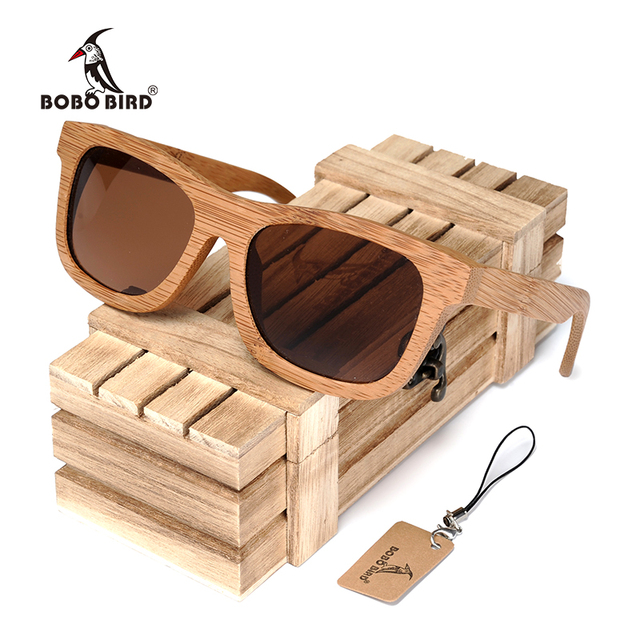 3239c13f86cadb BOBO VOGEL BG003 Merk Ontwerp Handgemaakte Eenvoudige Mode Stijl Natuur Bamboe  Zonnebril Vrouwen Mannen Gepolariseerde Bril