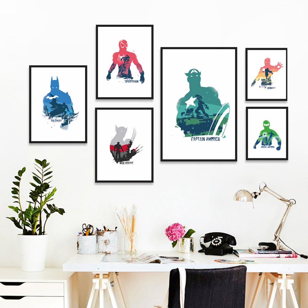 Elegante Poesia Filme Comics Superhero Lobisomem Capitão Spiderman A4 Canvas Pintura Art Print Poster Imagem Home Decor