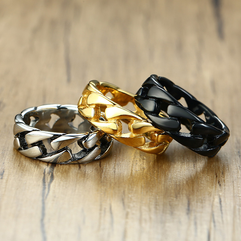 Gold/Silver Color Stainless Steel 7mm Punk Vintage Rings