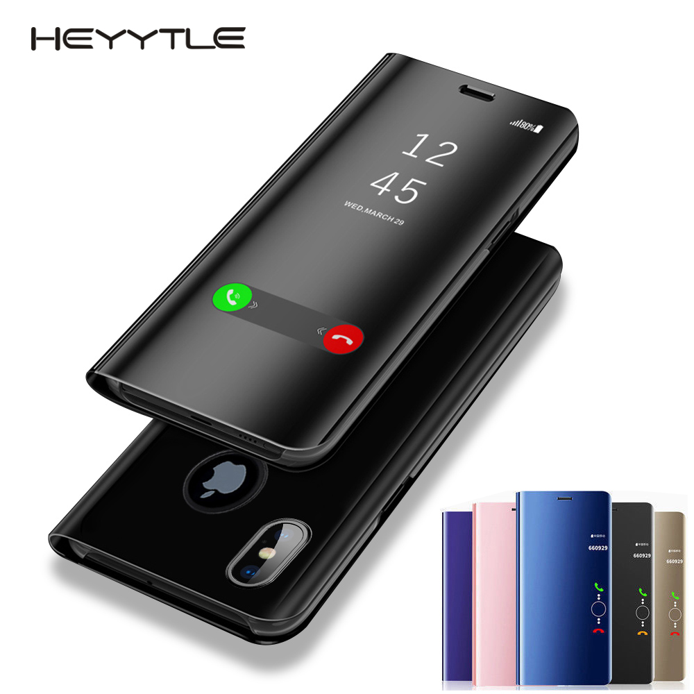 Heyytle Clear View Smart Mirror Phone Case For iphone XR XS MAX X 8 7 6 6S Plus Cases Leather Flip Stand Cover For iphone 10 9 iPhone XR