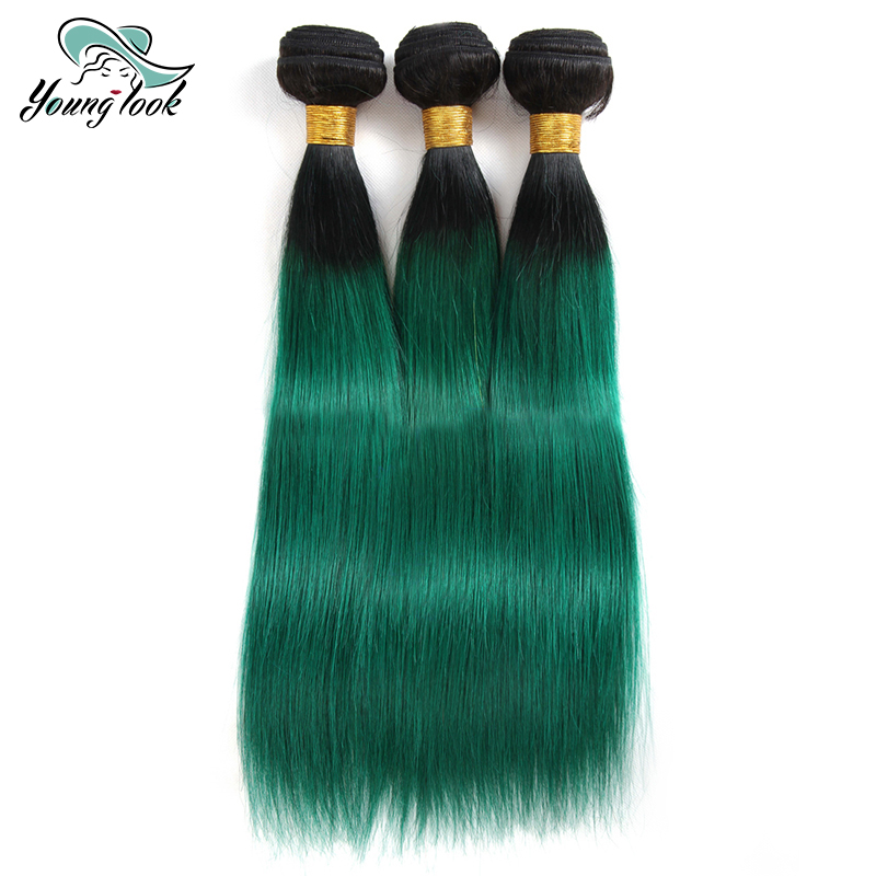 Young Look Hair Malaysian Straight Hair 3 Bundles Two Tone 1B/Green Ombre Hair Bundles N ...