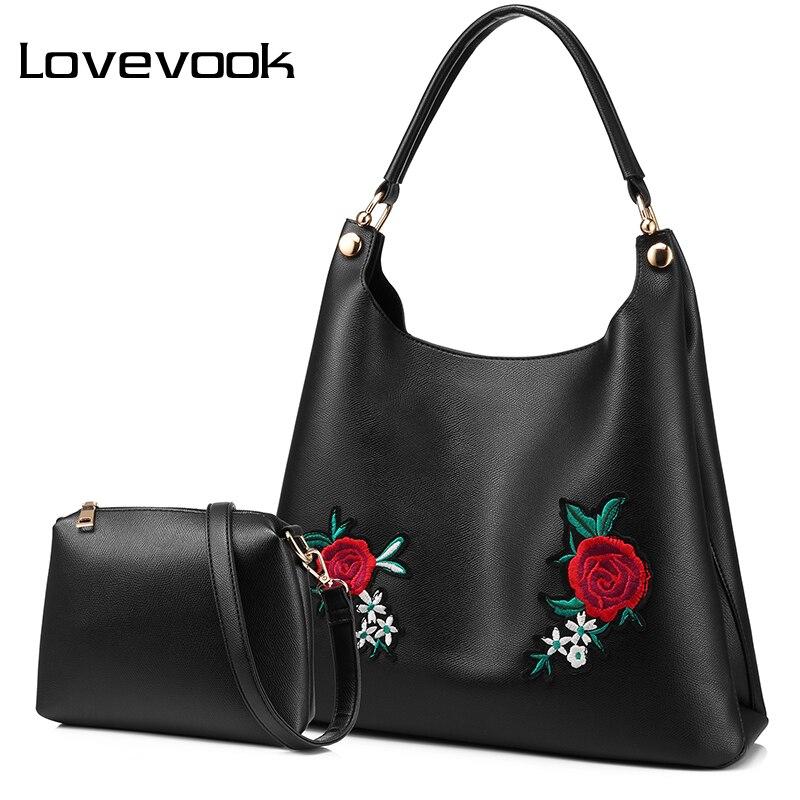 LOVEVOOK Retro Handbag Female Shoulder Messenger Bags For Women 2019 Crossbody Shopping Bag High Quality PU With Embroidery Tote