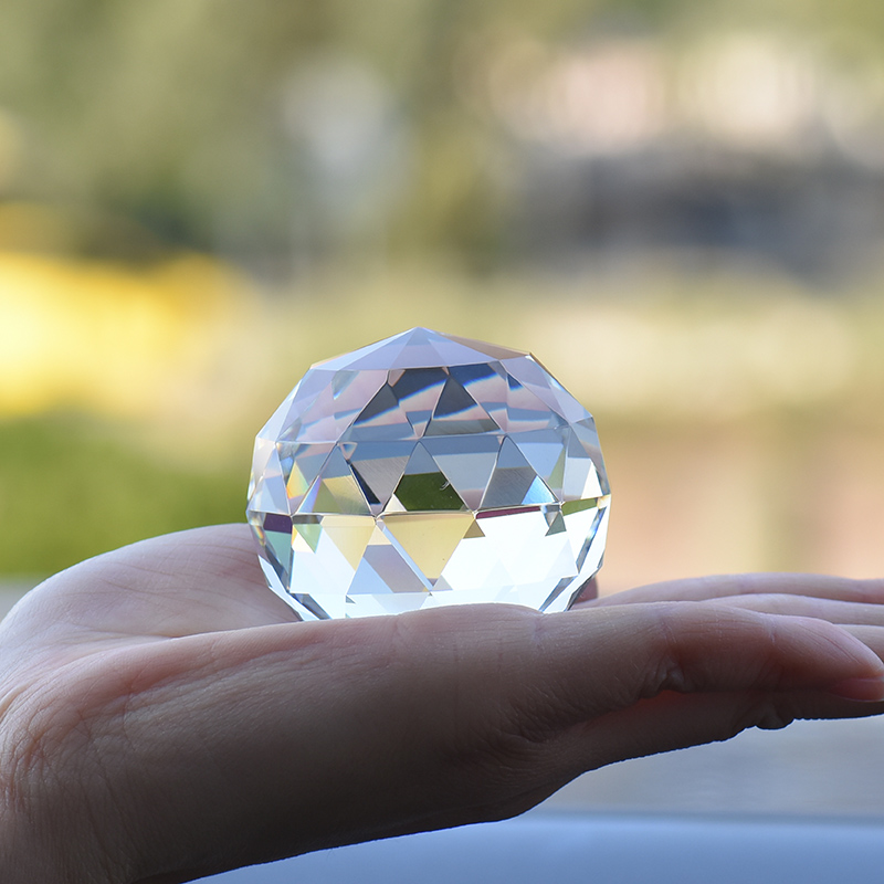 US $7 35 30% OFF|Home Decoration Accessories 6cm Multifaceted Miniature  Crystal Ball Paperweight Magic Gift Mitsubishi Craft Wedding Decoration-in