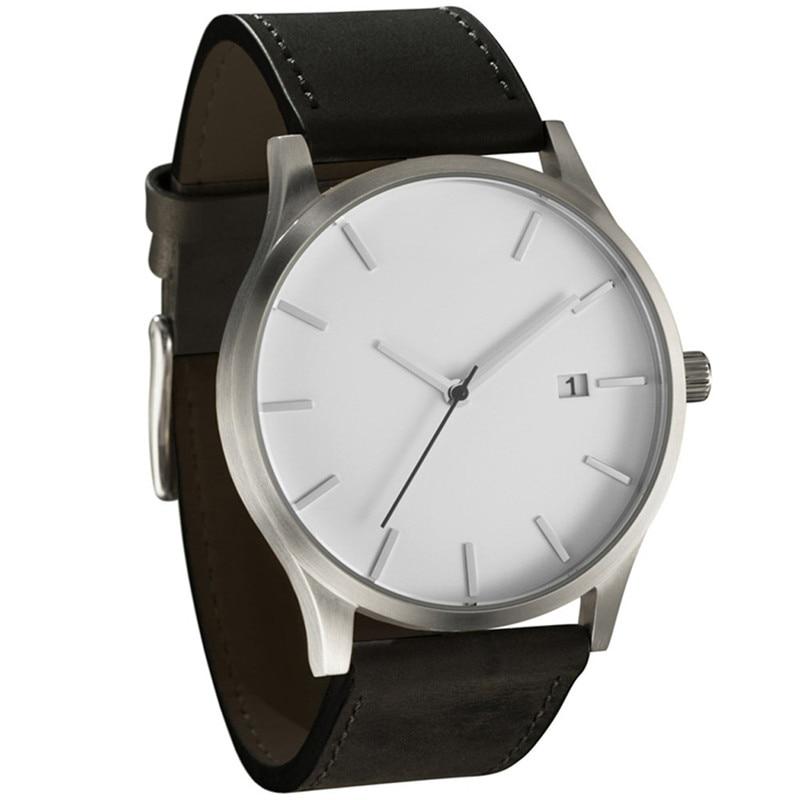 2017 Popular Low-key Minimalist Connotation Leather Mens Quartz Wristwatch blue shope 30%