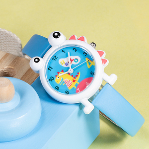 Image 2 - KDM Lovely Cartoon Dinosaur Children Watch Cute Kids Boys Waterproof Watches Genuine Leather Kid Wristwatch Students Clock