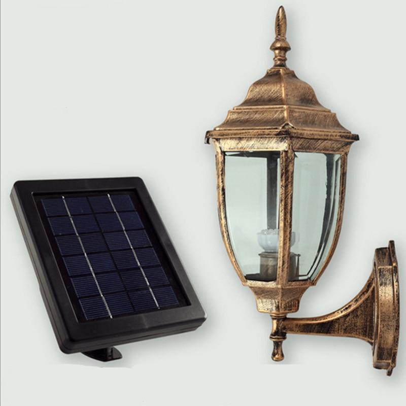 European E27 Solar Waterproof Outdoor Wall Lamp LED Aluminum Garden Corridor Lights Outdoor Lighting Solar Lights