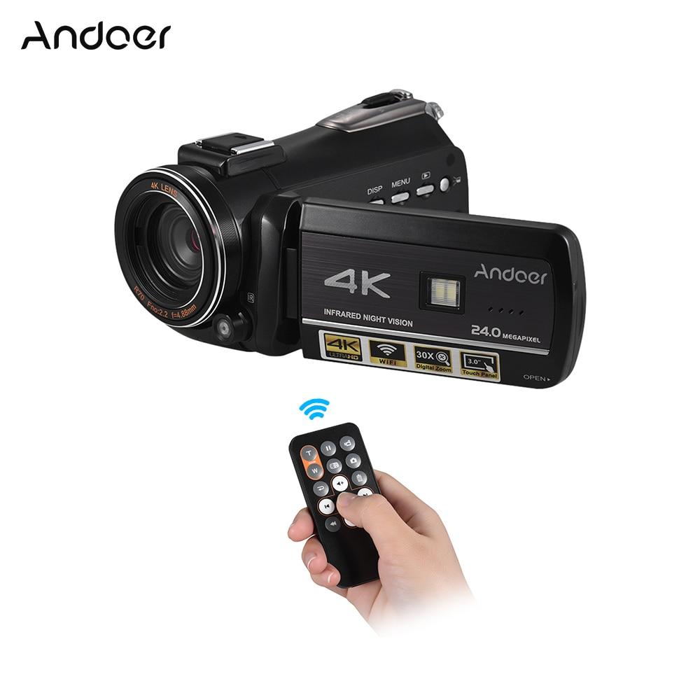Andoer Professionale Digital Video Camera 4 k UHD 24MP Camara Camcorder w/0.39X Wide Angle Lens Lens Cappuccio Esterno microfono