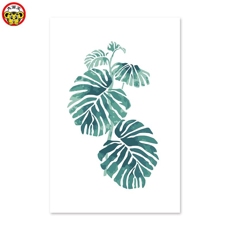 Planta verde hojas digital pintura al óleo a mano colorear por ...