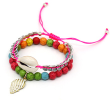 VONNOR Women Bracelet Colorful Stone Beads Handmade Shell Bracelets Beach Holiday Bohemian Jewelry Dropshipping