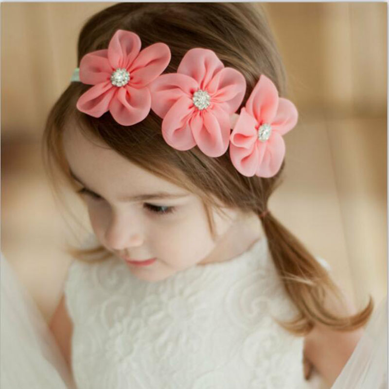 2017 New Ribbon Pearl Diamond Hairband Newborn Hair bands Sewing 3 Flowers Headband Kids Hair Accessories for Girls