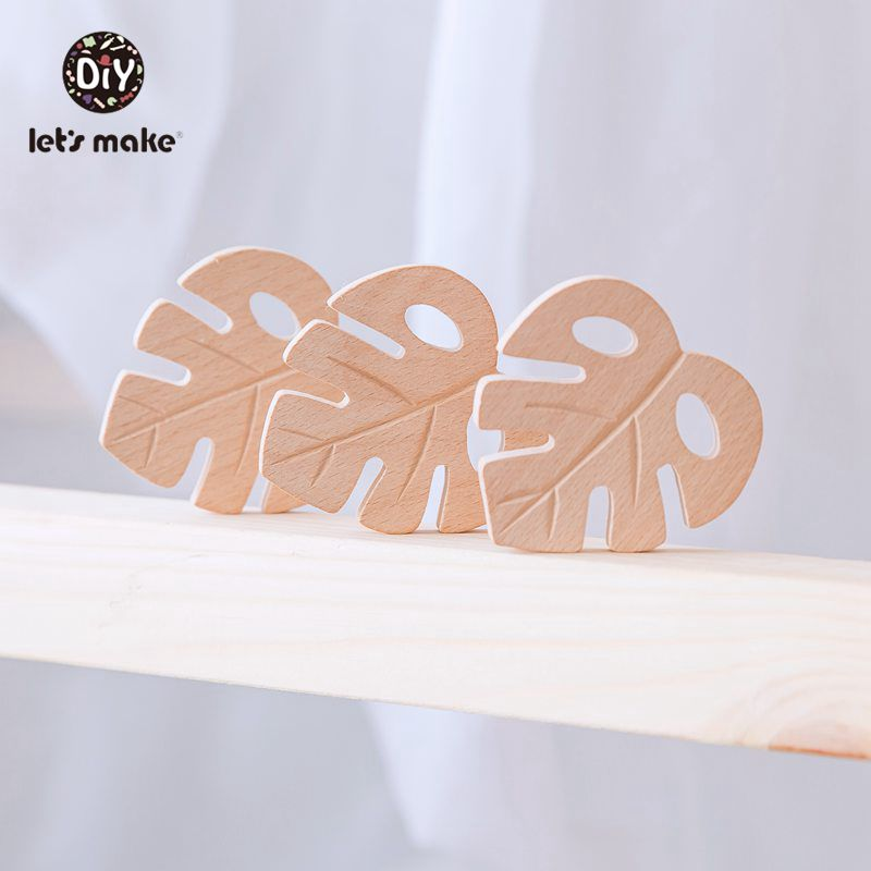 Let's Make Baby Wooden Teethers Leaves Shape Latex Free Beech Wooden 2PC Baby Teethers Toys DIY Pendants For Making Necklace